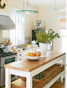 12 Smart Kitchen Island Ideas And Designs To Add More Precious Countertop Space To Your Kitchen Long Narrow Kitchen, Narrow Kitchen Island, Farmhouse Kitchen Island, Kitchen Island With Seating, Small Space Kitchen, Long Kitchen, Kitchen Islands, Small Spaces, Small Portable Kitchen Island