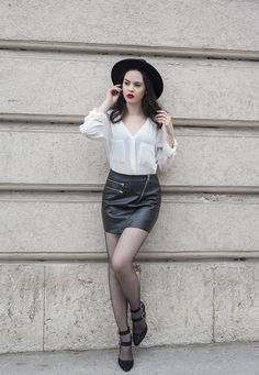 www.streetstylecity.blogspot.com  Fashion inspired by the people in the street ootd look outfit sexy high heels legs woman girl skirt miniskirt leather pantyhose fishnets