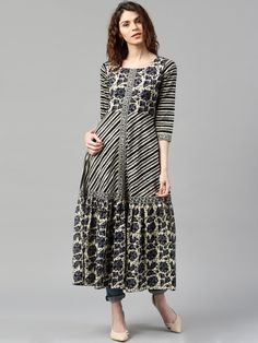 Libas Cream & Black Printed Anarkali Kurta