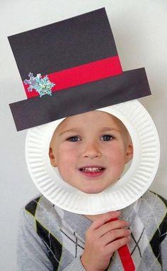 Snowman Paper Plate Mask Craft   AllFreeKidsCrafts.com