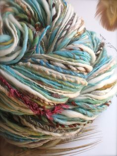 seashore - handspun gypsy handpainted art yarn. I'd love to dye some beige natural wool with some blue and sea green - might emulate this look. Spinning Yarn, Hand Spinning, Crochet Yarn, Knitting Yarn, Giant Knit Blanket, Yarn Inspiration, Yarn Stash, Yarn Shop, Hand Dyed Yarn