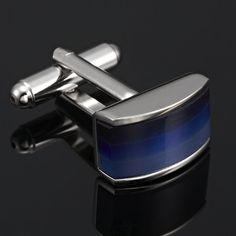 Unique Blue Shades Opal Stainless Steel Mens Cufflinks | RnBJewellery