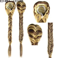"""Clip In Braided Ponytail Elastic Drawstring Rope Fishtail Fishbone Plaited Pony Tail Synthetic Hair Chignon Hairpiece 20"""" 130g"""