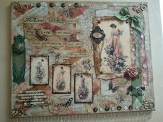 Mixed-media vintage inspired canvas art
