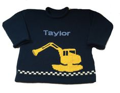 Personalized Excavator Sweater [KW87] - $58.95 | Custom Knits for Baby