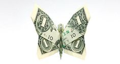 origami butterfly made out of a 1 dollar bill