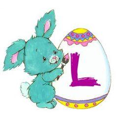 Alfabeto para Pascua de conejitos tiernos con cascarones. | Oh my Alfabetos!