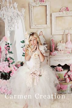 Couture Flower Girl Fairy Dress - Fairy Tutu- Flowr Girl Dress - Vintage Flower Girl - Photo Props - (Baby Dream Fairy Tutu and Top)