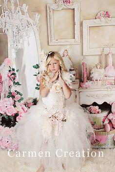 Costura florista Fairy Dress - hada tutú - Flowr vestido de niña - niña de las flores Vintage - apoyos de la foto - (tutú sueño de hadas del bebé y Top)