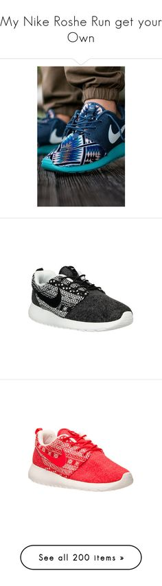 """My Nike Roshe Run get your Own"" by obey-957 ❤ liked on Polyvore featuring shoes, athletic shoes, nike footwear, athletic running shoes, nike, nike athletic shoes, running shoes, black, light weight running shoes and lightweight shoes"