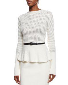 Embellished Waffle-Knit Peplum Sweater, Cream (Ivory), Women's, Size: L - Oscar de la Renta