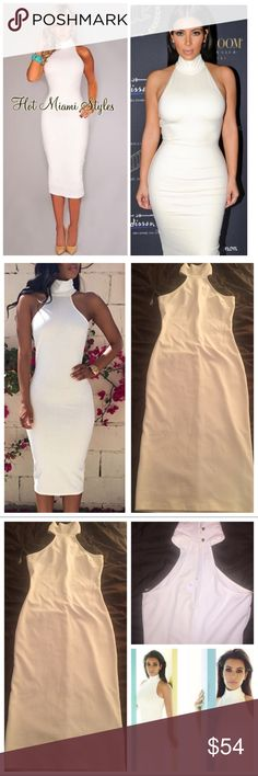 😍 As Seen On Kim Kardashian Midi Dress My camera makes the dress seem off white, but it's pure white/ivory. This gorgeous dress is a turtleneck choker style long bodycon stunner. The neck is a halter style and it has a peephole opening in the back. It's in perfect condition with the tags attached and never worn. Only one size small available. Brand is called Lac Bleu. As seen on Kim Kardashian! If you love these brands: 🌸 fashion nova 🌸 missguided 🌸 nasty gal 🌸 tobi 🌸 boohoo 🌸 house…