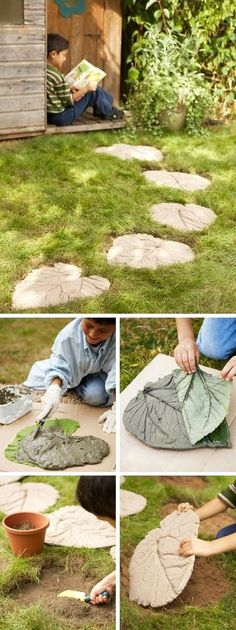 Concrete Leaves As Stepping Stones