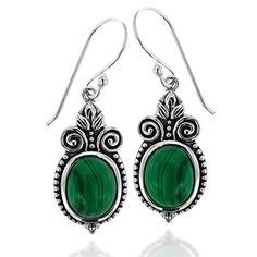 925 Oxidized Sterling Silver Ornate Oval Green Malachite Gemstone Dangle Earrings -- Visit the image link more details.(This is an Amazon affiliate link and I receive a commission for the sales)