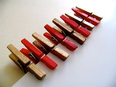 Red and Gold Mini clothespins