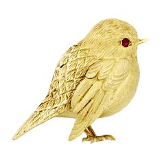 Hermès Paris Gold Bird Pin with Ruby Eye, French 1960