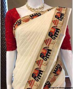 Cotton saree elephant border with blouse piece Classic Indian Saris Click VISIT link to read more Indian Saris CLICK Visit link above for more details Kerala Saree Blouse, Lace Saree, Saree Dress, Cotton Saree, Kalamkari Saree, Indian Designer Sarees, Indian Designer Wear, Indian Sarees, Saree Blouse Patterns