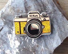 Retro Camera Shrink Plastic Brooch Shrinky Dink by HoleySocks, $5.00