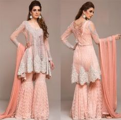 Latest Peplum Tops Designs And Short Frocks Collection Pakistani Engagement Dresses, Pakistani Wedding Outfits, Pakistani Dresses, Indian Dresses, Indian Outfits, Pakistani Gharara, Gharara Designs, Short Frocks, Desi Clothes