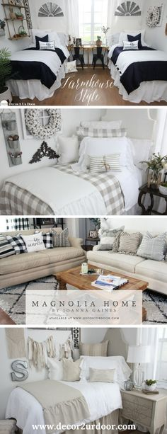 """Move over """"Fixer Upper"""", Décor 2 Ur Door's got the trendiest farmhouse dorm room bedding around. Neutral colors and simple patterns will create your trendy farmhouse dorm room. Dorm Room Doors, Dorm Room Bedding, Dorm Walls, College Dorm Bedding, College Dorm Rooms, Teen Bedding, College Tips, Bedroom Bed, Bedroom Ideas"""