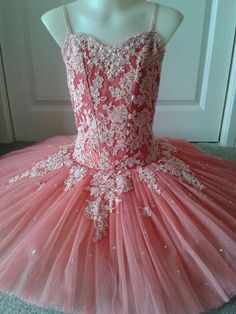 Coral pink silk with pale apricot pink corded lace - classical ballet tutu by Margaret Shore Costumes