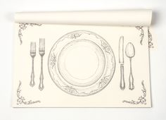 """Perfect Setting Paper Placemats. Pad of 30 placemats. Designed and printed in the USA. 19""""x12.5"""""""
