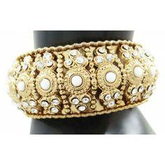Goldtone Hinged Bangle Set Jewelry Ethnic CZ Stone Braclet/Kada Jewellry Set 2*6 Bangle Set, Bracelet Set, Cuff Bracelets, Traditional Indian Jewellery, Indian Jewelry, Brooch, Stone, Ethnic, Handmade