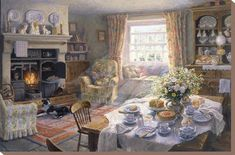 painting of English country room: Sunday Tea-Time by Stephen Darbishire. Gifs, Hygge, Summer Painting, Cottage Interiors, Art Interiors, Stretched Canvas Prints, My Dream Home, Find Art, Framed Artwork