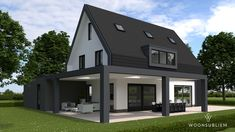 moderne woning zwart wit overdekte veranda