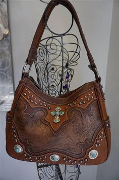 "Handbag ""Montana West"" Cross Turquoise Studs Flowers FST-8291 Brown Camel Purse #MontanaWest #ShoulderBag"