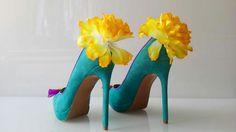 Summer dream : #pumps #shoes #buty #schuhe #flowers #kwiaty #blumen #lemons #cytryny #zitronen #bow #kokardka #schleife