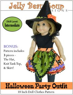 Halloween Party 18 inch Doll Clothes Pattern PDF Download | Pixie Faire