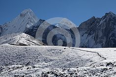 Snow mountain near Pangboche village in Eastern Nepal.