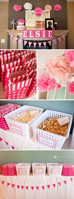 "A Baby Shower Popcorn bar! How cute would this be for those friends and family members that are about to ""pop!"""