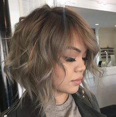 ash brown shaggy wavy bob