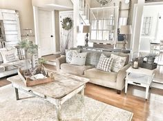 Farmhouse living room!! Chippy doors and windows. Fixer Upper style IG @bless_this_nest