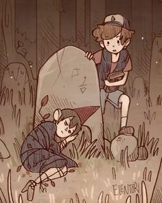 Dipper and Wirt from Gravity Falls and Over the Garden Wall