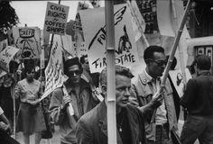 Beatniks at City Hall protesting against closing of Greenwich village coffee houses; NYC, June 1960; Photographer:Bob Gomel