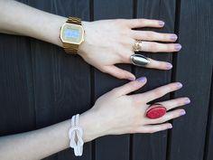 Love the rings! High Shoes, Nike Dunks, Casio Watch, Bracelet Watch, Nike Women, Watches, My Style, Womens Fashion, Bracelets