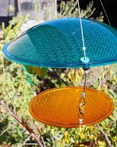Bird feeder blue and yellow Eco Friendly by RedYellowAndBlueInk