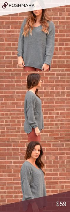 Blue Oversized Sweater This oversized sweater gives us all the fall feels! Size down for a fitted look. No trades. Kyoot Klothing Sweaters