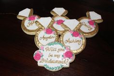 Will you be my bridesmaid decorated cookies by Elliott's Edibles. Pink and greenery and gold