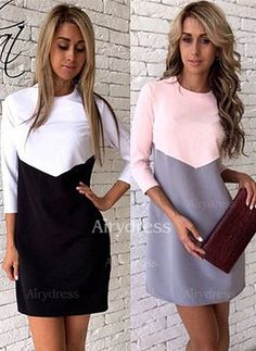 Dress - $10.45 - Polyester Color Block 3/4 Sleeves Above Knee Casual Dresses (1955130445)