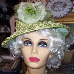 Vintage Woven Green Straw Brim Hat With by LavenderPathAntiques, $45.00