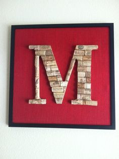 Wine cork monogram I made for our kitchen wall.