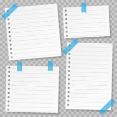 Set of note paper template with blue tape Premium Vector Frame Template, Templates, Pink And White Background, Note Memo, Glitter Frame, Certificate Design, Flashcard, Best Planners, Cool Lettering