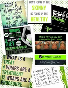 It Works! So Much More Than Our Amazing Wraps! For more information or to set up an appointment ↙↙   Call or Text #585-217-7805 www.nikkiferrara.itworks.com nikkiferrara@outlook.com  It Takes Hard Work & Dedication With It Works! Clean Eating! & Exercise!