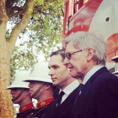 Tom Hardy and Harrison Ford, supporting the Guinness World Recod longest continuous group drumroll attempt by the Royal Navy | Armed Forces Day. April 30, 2014.