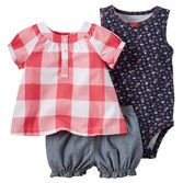 Complete with a plaid top, printed bodysuit and chambray bubble shorts, this 3-piece set is perfect for spring.