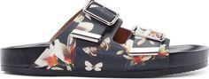Givenchy Black Floral Slip-On Sandals